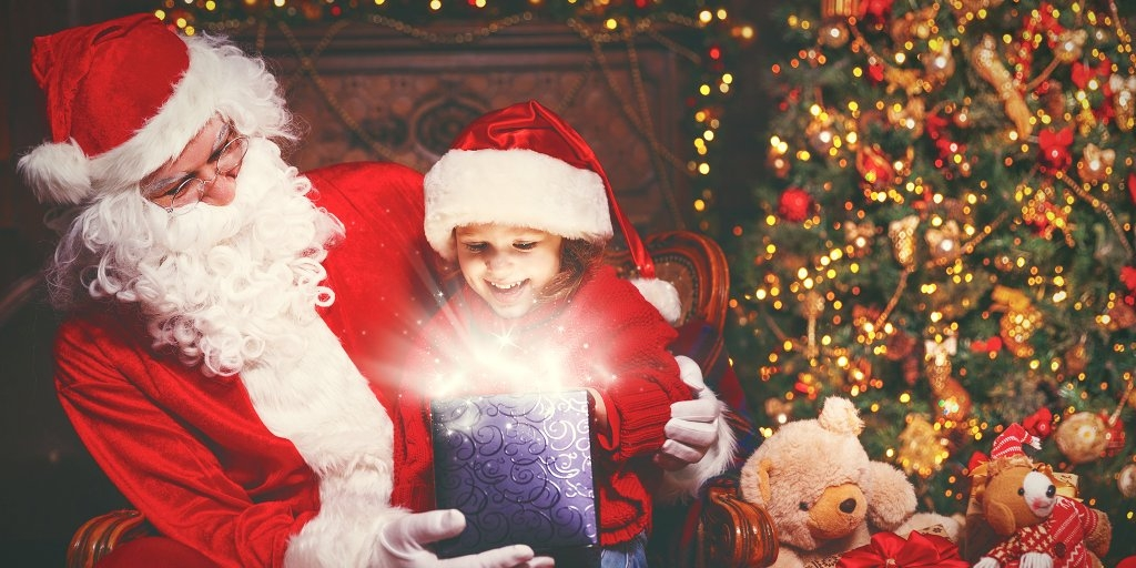 Magical holiday moments with Santa Claus and vivacious play for children